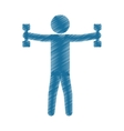 drawing colored silhouette man barbell lifting vector image