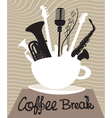 Drink coffee listen to music vector image vector image