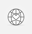 earth globe with heart line icon - concept vector image