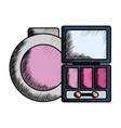 eye shadows with blush and mirror make up drawing vector image vector image