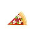 flat delicious pizza slice icon with mushrooms vector image vector image