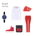 Flat Style Womans Look Fashion wear vector image vector image