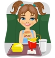 girl eating burger with french fries vector image vector image
