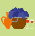 grape with bottle and glass wine beverage vector image vector image