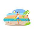 guy playing ball coastline at tropical sea shore vector image vector image