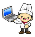 happy cook character is holding a laptop isolated vector image vector image