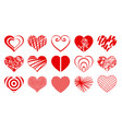 heart drawings valentine icon set02 vector image