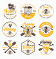 honey and apiary set of colored emblems vector image vector image