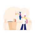 housewife or chef cooking seafood meal young vector image vector image