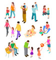 isometric family children parents in different vector image vector image