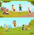 kids banner set vector image vector image