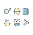 Kitchen line icons set vector image vector image
