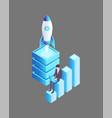 launching rocket businessman vector image vector image