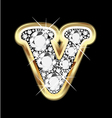 letter v gold and diamond vector image vector image