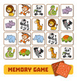 memory game for children cards with zoo animals vector image vector image