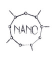 nano molecular structure icon in blurred vector image