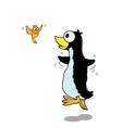 Pengiun and bird cartoon vector image