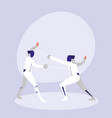persons practicing fencing avatar character vector image vector image