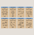 sea food banner retro hand drawn labels price vector image vector image
