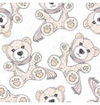 seamless pattern with hand drawn bear cartoon vector image