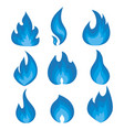 set blue flames a collection of vector image vector image