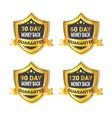 set golden shield stickers money back guarantee vector image vector image