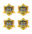 set of golden shield stickers money back guarantee vector image vector image