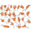 Set of orange hands vector image