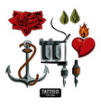 set of tattoo drawings vector image vector image