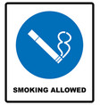 smoking allowed icon round blue sign with white vector image vector image