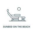 sunbed on beach line icon linear vector image vector image