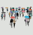 townspeople in the rain vector image vector image