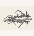 two mountains spruce forest and lake sketch vector image vector image