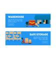 warehouse safe storage horizontal banners vector image vector image
