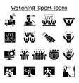 watching sport on tv sport broadcasting icon set vector image vector image