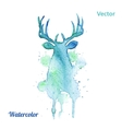 watercolor deer head on white background vector image vector image