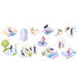 woman daily life activity home and work isometric vector image