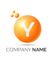 y letter splash orange dots and circle bubble vector image vector image
