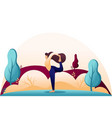 yoga girl in a pose asana outdoors in woods vector image vector image