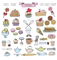 Doodle bakeryCakes icons setColored vintage vector image