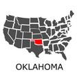 state of oklahoma on map of usa vector image