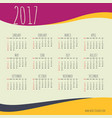 2017 happy new year calendar with colorful waves vector image vector image