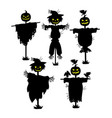 a set of silhouettes of scarecrows collection of vector image