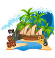 an isolated pirate island vector image