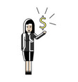 asian woman with dollar sign in hand vector image vector image