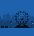 at night amusement scenery silhouette vector image vector image