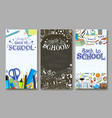 back to school vertical banner template set vector image