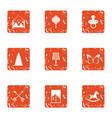 boyishness icons set grunge style vector image