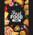 burgers pizza and soda sandwich fast food vector image vector image