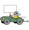 Cartoon man in a sports car holding a sign vector image vector image